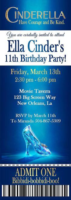Cinderella Invitation Cinderella Movie by TwentyToesDesigns