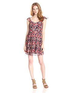 Joie Women's Edelfina Silk Watercolor Poppy Flared Dress