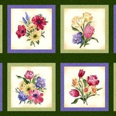 Spring Spectacular Flower Bouquet Squares 24x44 Large Fabric Panel