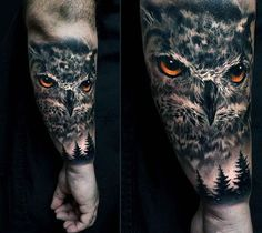 Male Forearms Realistic Sombre Eyed Owl Tattoo