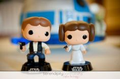 Star Wars Cake Topper with Princess Leia and Han Solo.   Serendipity Portraits Chicago Wedding Photography  www.capturethehappy.com