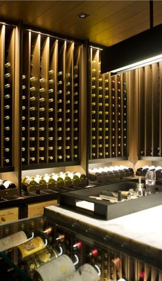 my wine cellar- mein Weinkeller my wine cellar - Wine Cellar Design, Wine Design, Wine Shelves, Wine Storage, Villa Luxury, Decoration Restaurant, Home Wine Cellars, Wine Display, Wine Wall