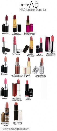#lipstick #dupes #lips #abcs #mac #of #abABCs of MAC Lipstick Dupes Mac lipstick dupes : A-BMac lipstick dupes : A-B #LipstickColors Mac Lipstick Dupes, Mac Dupes, Lipgloss, Drugstore Makeup, Makeup Tips, Makeup Hacks, Eyeshadow Dupes, Mac Makeup, Eyeliner Hacks