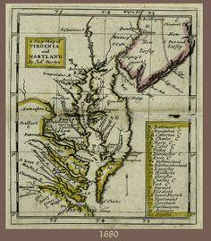 Northern neck Va Map   1680 Map: Virginia and Maryland