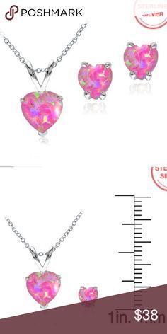 "Pink Opal Heart Solitaire Pendant & Earrings Set Sterling Silver Created Pink Opal Heart Solitaire Pendant & Stud Earrings Set.  18"" necklace. Jewelry Necklaces"