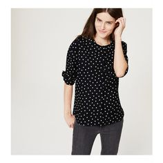 LOFT Dotted Henley Blouse ($60) ❤ liked on Polyvore featuring tops, blouses, black, long sleeve blouse, henley blouse, black long sleeve blouse, loft tops and long sleeve tops