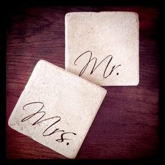 The Painted Lily  Mr & Mrs Coasters  (Also available in Mr & Mr or Mrs & Mrs)