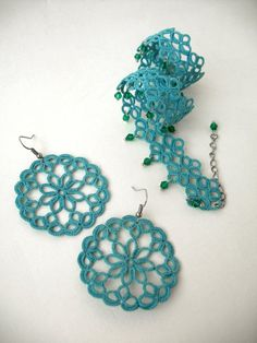 Tatting lace jewelry set Teal accessories Boho lace choker and earrings Tatted necklace earring set Victorian jewellery with emerald beads Mandala Jewelry, Tatting Jewelry, Lace Jewelry, Tatting Lace, Prom Earrings, Lace Necklace, Filigree Earrings, Teal Accessories, Crochet Accessories