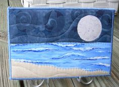 moon  quilts | seascape quilts | Big Moon Seascape Fabric Postcard Art Quilt by ...