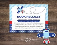 """Instant Download Airplane Book Request for Boy Baby Shower by Studio20Designs. This bomber plane Book in Lieu of Card notice is 3.5""""x4.75"""" and comes 4-up on a sheet. Mail one with your invitation for the baby shower to help the mom-to-be stock up on great children's books!"""