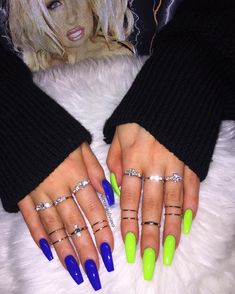 Throwback to this look, because my go to blue (El Capitan) is finally back in stock 💙🙌🏼🌊⛴ coupled up with Con Limon 💚🌴🌵 both from… Neon Acrylic Nails, Bright Summer Acrylic Nails, Neon Green Nails, Simple Acrylic Nails, Yellow Nails, Bright Colored Nails, Summer Nails, Edgy Nails, Aycrlic Nails