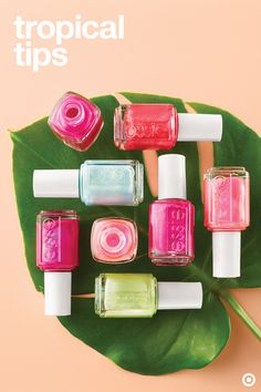 Essie's new Tropical Lights summer collection will have your nails feeling beachy vibes all the way from your fingers down to your toes. Find your favorite color (or five!). Then dream up endless tropics-inspired manicures and pedicures for every sunny spot on your summer fun list. Apply two coats, followed by a top coat to keep your polish from chipping.