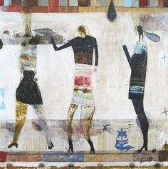 """Scott Bergey - """"This Is Somewhere"""" - 14 x 14 x 1 , mixed media painting/collage on wood panel, Jan. 2016 - www.etsy.com/ca/shop/ScottBergey"""