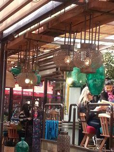 Cafe in Bellavista neighborhood Santiago Chile. Love the multiple lanterns.