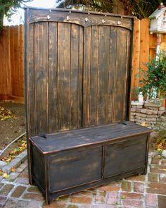 Wood Hall Tree Furniture Hall Stand by honeystreasures on Etsy