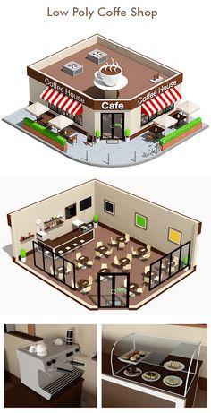 Low Poly Coffee Shop - Item for Sale Decoration Restaurant, Deco Restaurant, Restaurant Design, Pub Decor, Modern Restaurant, Cafe Floor Plan, Restaurant Floor Plan, Coffee Shop Interior Design, Coffee Shop Design