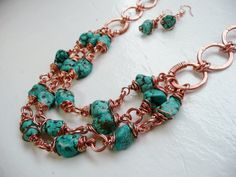 Blue Stone 3 Strand Copper Wrapped Necklace and by aleathabean, $45.00