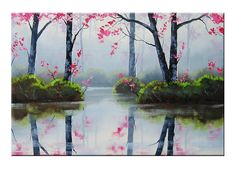 MISTY BLOSSOM PINK Large Painting trees by GerckenGallery on Etsy