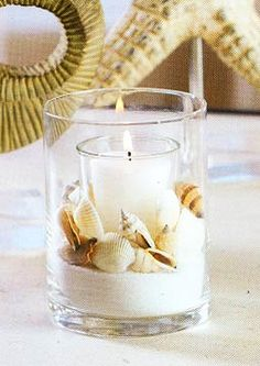 Sand, shells and candlelight, use small medium and large candle sizes to create variety