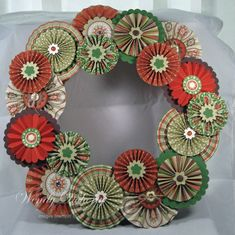 Paper rosette wreath; accordion wreath; Apple Cider Rosette Wreath by Wdoherty - Cards and Paper Crafts at Splitcoaststampers