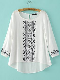 SheIn offers White Round Neck Embroidered Dip Hem Blouse & more to fit your fashionable needs. Teen Fashion Outfits, Trendy Outfits, Fashion Dresses, Kurta Designs, Blouse Designs, Pakistani Dress Design, Embroidered Clothes, Mode Hijab, Embroidery Dress