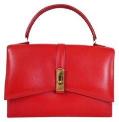 Hermes Red Box Calf Kelgo Kelly Hand Vintage Very Rare Tote Bag $4,620