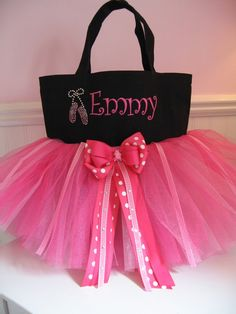 Dance Bag with rhinestone ballet slippers by gkatdesigns on Etsy