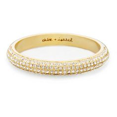*Gold Modern Deco Pavé Bangle*  A modern twist on a vintage classic with crystal pavé detail wrapping halfway around bangle. Perfect to wear alone or to stack with other bangles $62