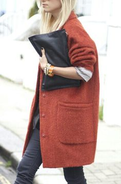 oversized jacket + clutch.