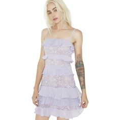 For Love & Lemons Lilac Cosmic Tiered Lace Dress ($290) ❤ liked on Polyvore featuring dresses, lace dress, ruffle cocktail dress, lilac lace dress, embroidered dress and ruffle dresses