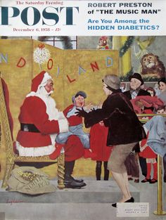 """1958 """"Crying on Santa's Lap"""" - Little Boy 1950s Department Store - Christmas Photo Shoot - George Hughes Art - Saturday Evening Post Cover"""