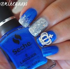 experience the glamorous style of royal blue nail designs royal blue nails blue nails and Blue Wedding Nails, Wedding Nails For Bride, Wedding Nails Design, Bride Nails, Wedding Hair, Wedding Favors, Wedding Ideas, Royal Blue Nails Designs, Orange Nail Designs