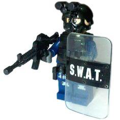 Custom Made Police SWAT Minifig / Minifigure in by GrannysOrganic Lego Police, Lego Military, Military Figures, Police Officer Wife, Building Blocks Toys, Lego War, Custom Lego, Cool Lego, Swat