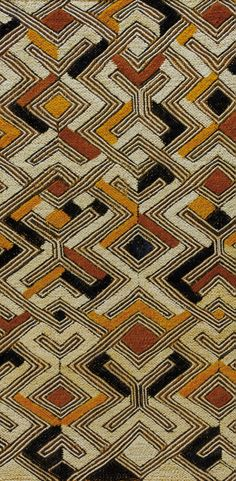 Detail from an 'nbol' from the Shoowa Kuba people of DR Congo. Raffia, embroidered with black yellow and ochre colours. Ethnic Patterns, Textile Patterns, Textile Design, Print Patterns, Japanese Patterns, Floral Patterns, African Textiles, African Fabric, African Design