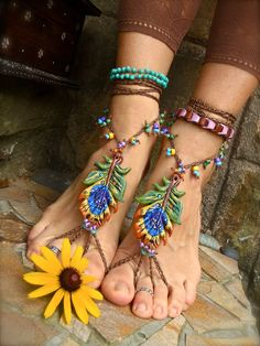 PEACOCK BAREFOOT sandals made to order hippie foot jewelry beach. $90.00, via Etsy.