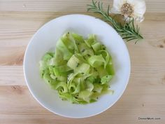 Zucchini Ribbons Sauteed in Garlic and Rosemary - My kids love these pasta like noodles!