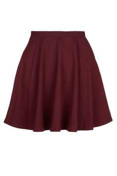 New Look Mobile | Teens Burgundy Jersey Skater Skirt