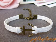 Anchor Bracelet-- Cute Bronze Anchor Bracelet, White Rope Bracelet, Best Gift for Friend---C416