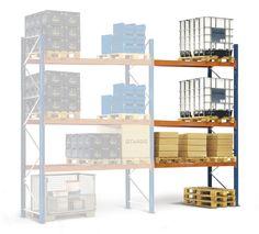 GTARDO.DE:  Palettenregal Anbauregal 462x270x75 cm, 3 Böden, Fachlast 2120 kg, Feldlast 6000 kg 419,00 €