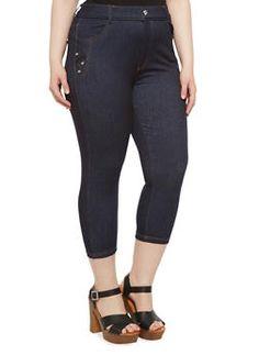 Plus Size Stretch Denim Capri Pants,BLUE