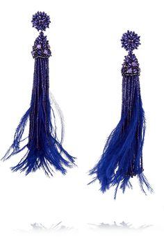 Oscar de la RentaBead, crystal and feather tassel earrings