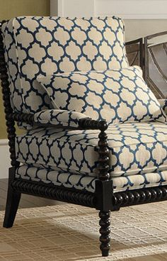 Custom Bobbin Chair in a great contemporary wake-up fabric. reupholster chair with this design and color living family room