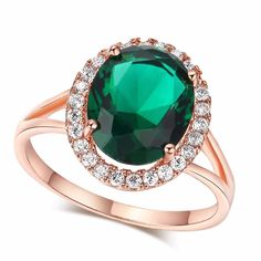 Rose Gold color green crystal  AAA cubic Zirconia ring jewelry engagement cocktail party rings for women bijoux BAGUES MYR 013 #Affiliate