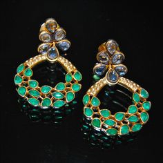 Gold Kundan Earrings With Emeralds MORNE49440225910 - buy Jewellery online from Orne Jewels at CraftsVilla.com