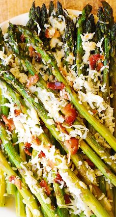 Oven-Roasted Asparagus with Bacon, Garlic, and Asiago cheese – perfect appetizer for all kinds of meat and fish.  Healthy, gluten-free and low-carb recipe. #asparagus #bacon #garlic #Asiago #glutenfree #healthy #lowcarb #sidedish #side Oven Roasted Asparagus, Asparagus Bacon, How To Cook Asparagus, Gluten Free Sides Dishes, Vegetable Side Dishes, Asiago Cheese, Goat Cheese, Side Dish Recipes, Side Dishes