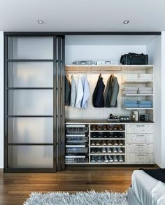 Modern Closet Design Ideas By Kay Wade, Closet Factory - Modern Man's closet with sliding doors. Example of a mid-sized minimalist men's reach-in closet - Curtains For Closet Doors, Modern Closet Doors, Sliding Closet Doors, Glass Closet Doors, Bedroom Closet Design, Bedroom Wardrobe, Closet Designs, Bedroom Closets, Bedroom Designs