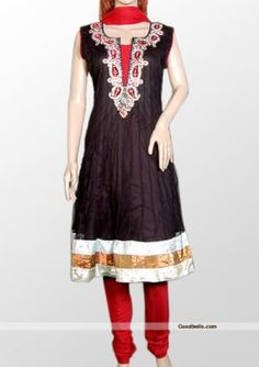Enhance your elegance wearing this dress designed with black shade. Silver stones and contrast patch work gives it attractive look and shimmering border adds charm. It will look good for wedding or any special occasion. http://goodbells.com/salwar-suits/gorgeous-black-partywear-salwar-kameez.html?utm_source=pinterest_medium=link_campaign=pin30julyR31P51