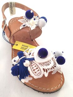 """Leather Sandals """"Nemesis"""" (Handmade to order) wedding gift / bridesmaid / white/ blue / lace / unique / kids / girl / baptism / summer by BlissDesigners on Etsy"""