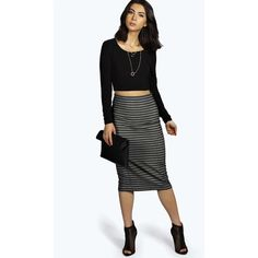 Boohoo Cate Striped Mesh Look Midi Skirt ($7) ❤ liked on Polyvore featuring skirts, black, black bodycon skirt, black pleated skirt, black midi skirt, striped bodycon skirt and striped pleated skirt