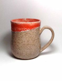Handmade Stoneware Mug - Rustic Ceramic  Mug - White and Orange Mug - Coffee Mug - Beer Mug - Coffee Mug - Tea Mug - Snowflake Mug